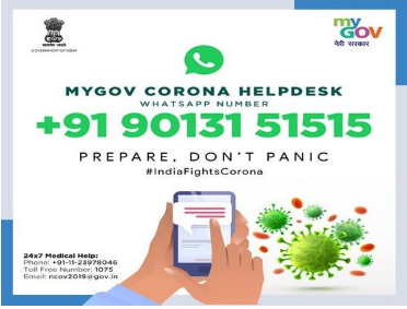 "A photo of the ""ad"" for India's MyGov Corona Helpdesk"